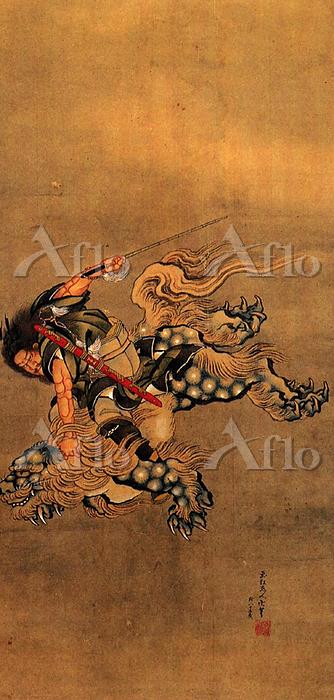 葛飾北斎「鍾馗騎獅図」