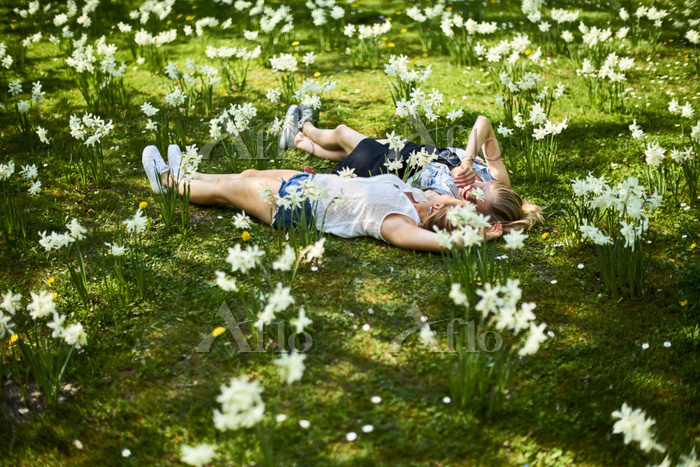 Two friends relaxing on flower・・・