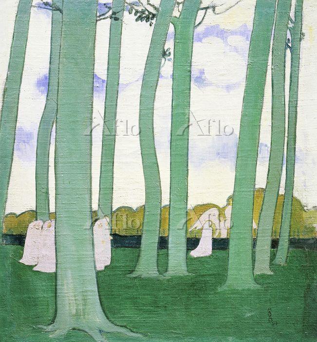 モーリス・ドニ  「木々の中の行列(緑の木立)」
