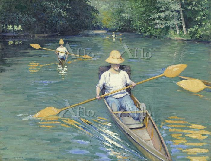 カイユボット 「イエール川でボートを漕ぐ人」