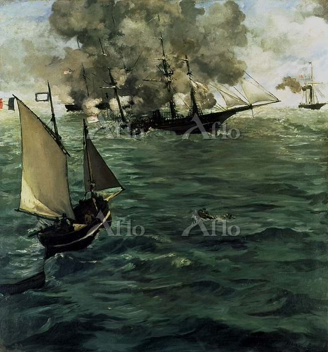 マネ 「キアサージ号とアラバマ号の海戦」