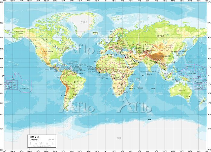 世界地図 地勢図 地図