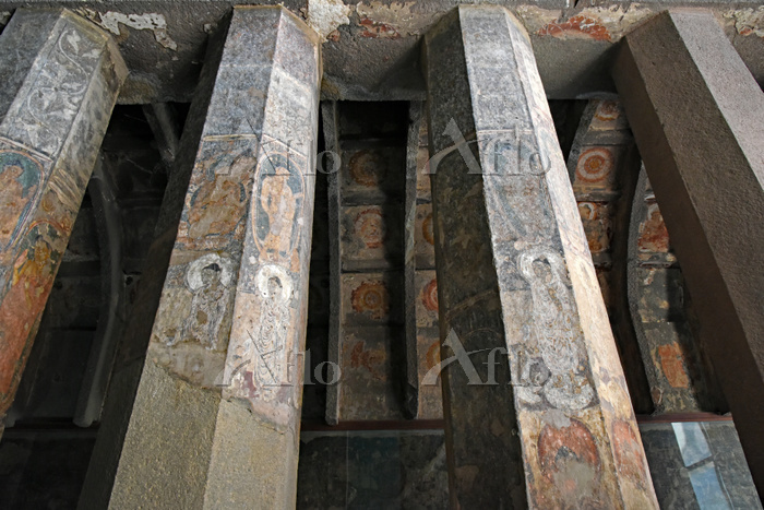 インド アジャンター石窟群 第10窟 柱に描かれた絵