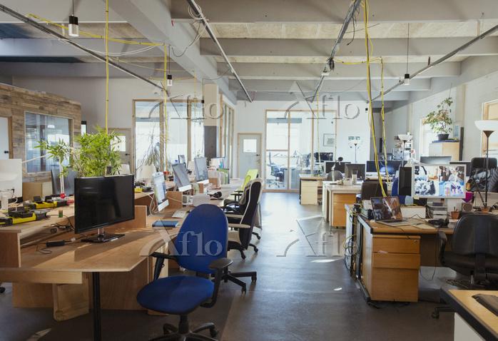 Desks in open plan office