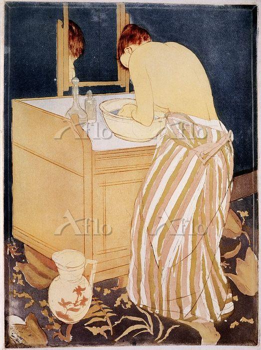 メアリー・カサット 「沐浴する女性(湯浴み、髪を洗う女)」