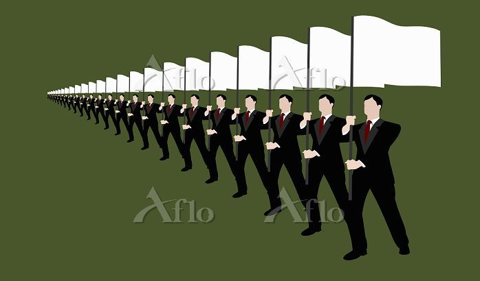 Businessmen holding flags and ・・・