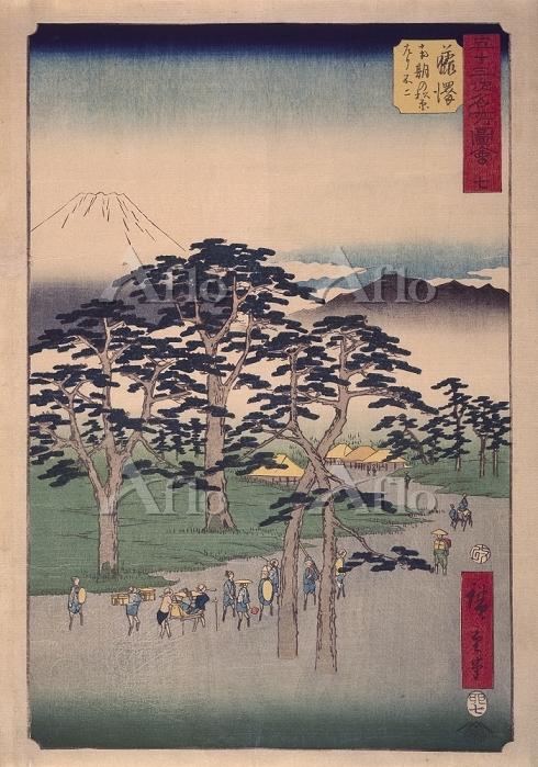 歌川広重 「五十三次名所図会 藤沢 南木の松原左リ不二」