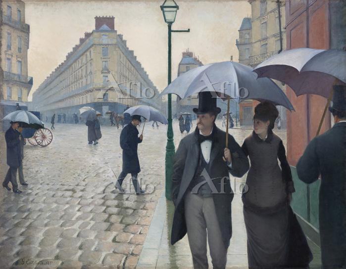 カイユボット 「パリの通り、雨(パリの街角、雨)」