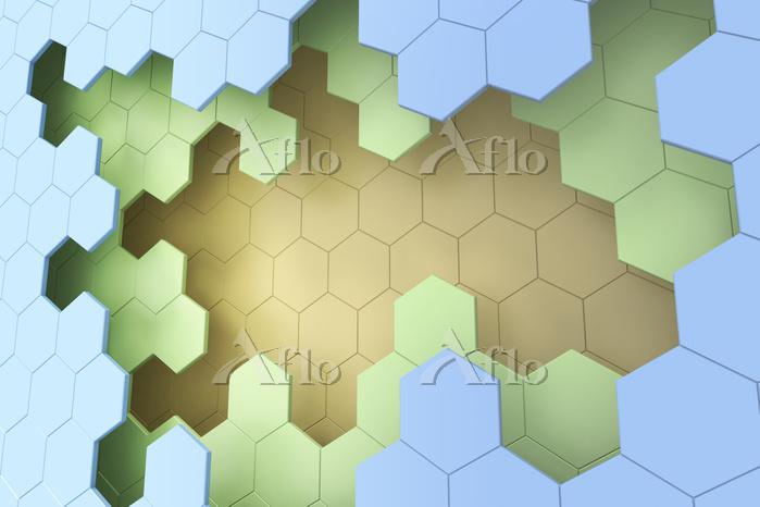 一面の六角形の模様 CG