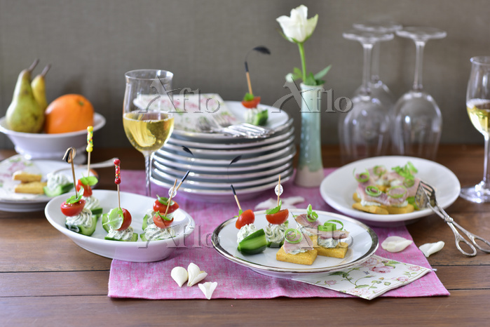 A buffet with various appetise・・・