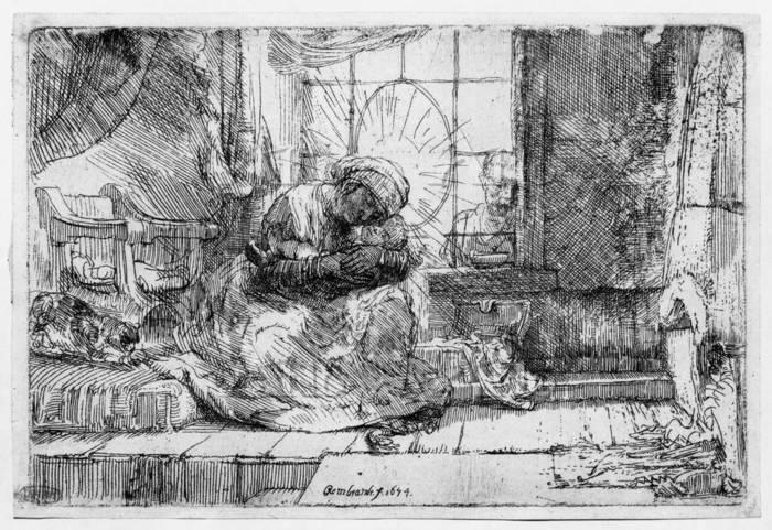 レンブラント 「猫と蛇のいる聖母子」