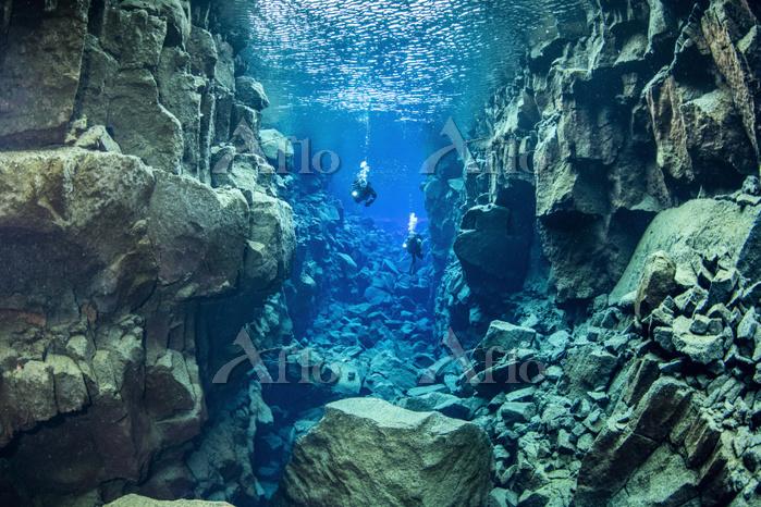 Scuba divers at Dav韔sgja, a fi・・・