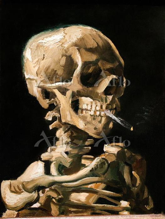 ゴッホ 「火のついた煙草をくわえた骸骨」