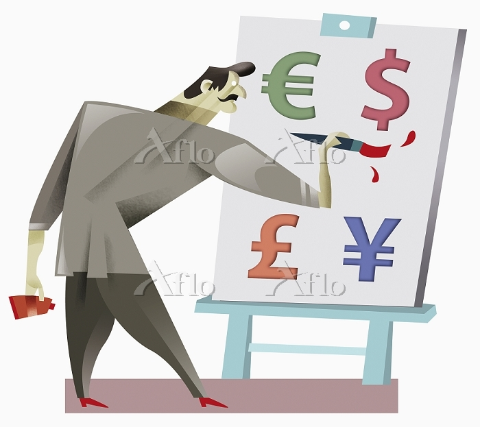 Man painting currency symbols ・・・