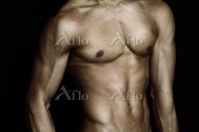 筋肉質の男性の上半身