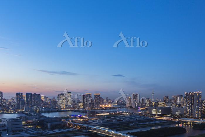 豊洲市場と豊洲、晴海周辺のビル群 夕景