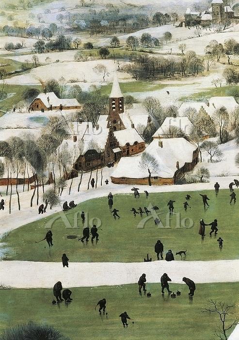 ピーテル・ブリューゲル 1世「雪中の狩人」(部分)