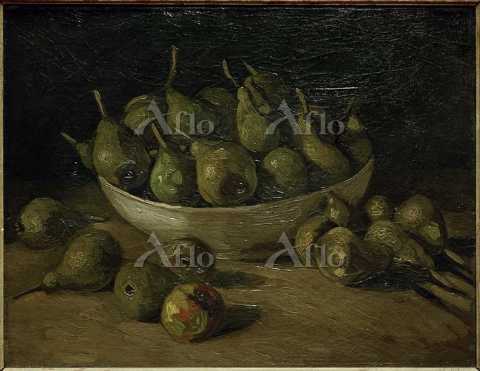 ゴッホ「陶器と洋梨のある静物」