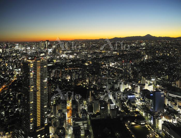 東京都 サンシャイン60展望台から見る富士山と街のイルミネー・・・