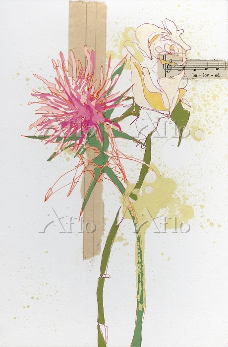 Flowers and musical notes by S・・・