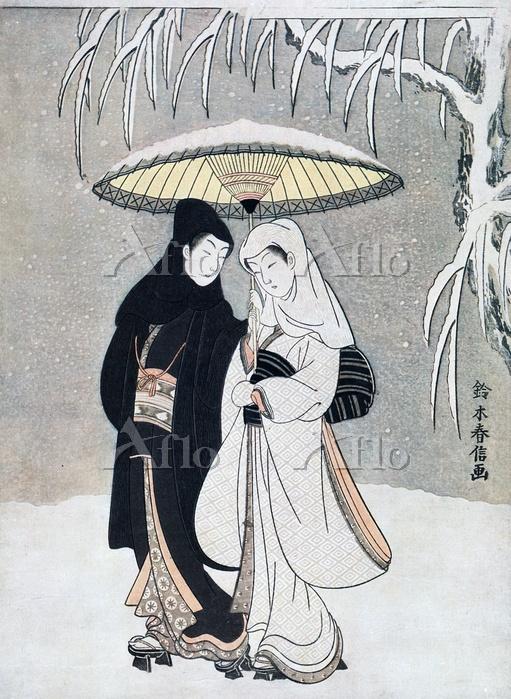 鈴木春信 「雪中相合傘」