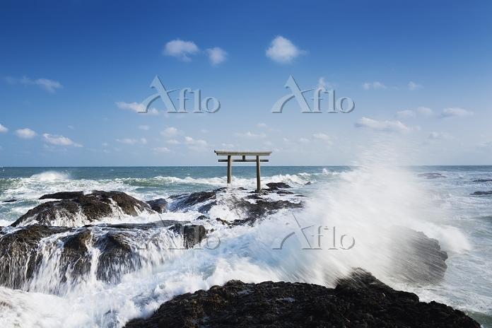 日本 茨城県 大洗磯前神社 神磯の鳥居