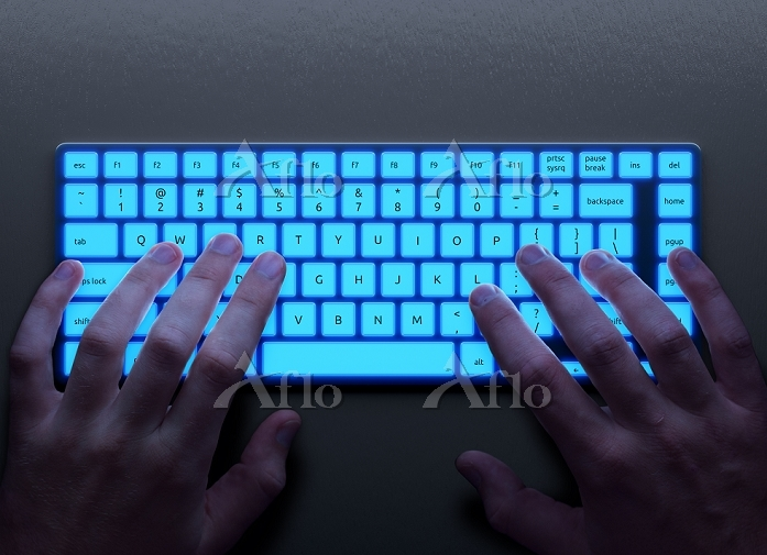 Human hands with keyboard. Hum・・・