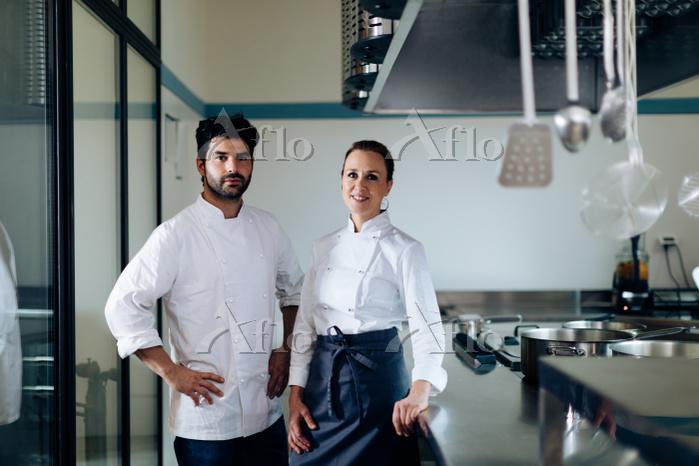 Portrait of chefs in kitchen