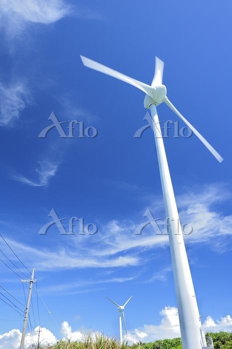 沖縄県 夏の宮古島 風力発電