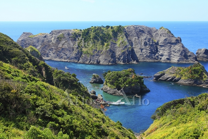 静岡県 奥石廊崎 大根島とヒリゾ浜に接岸する渡し船