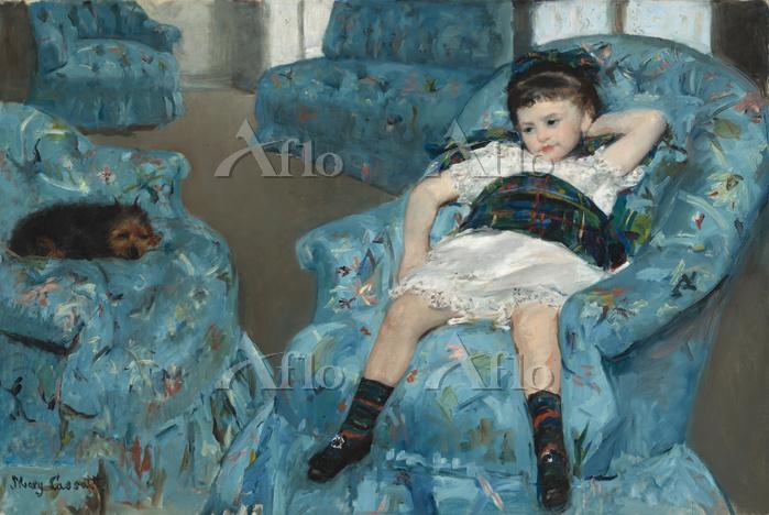 メアリー・カサット 「青い肘掛け椅子に座る少女」