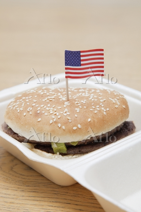 Grilled hamburger with America・・・