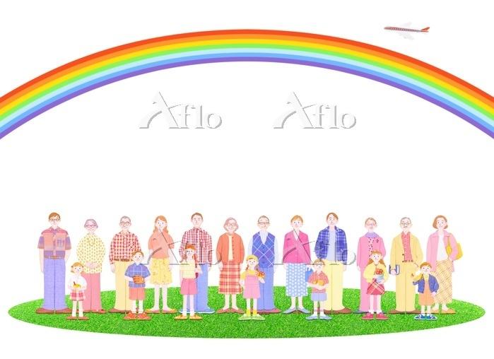 3組の3世代家族と虹