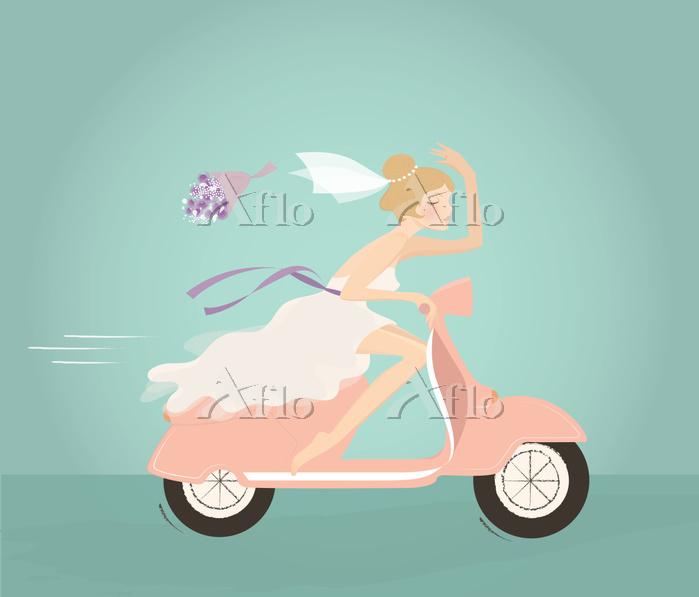 Illustration of bride throwing・・・