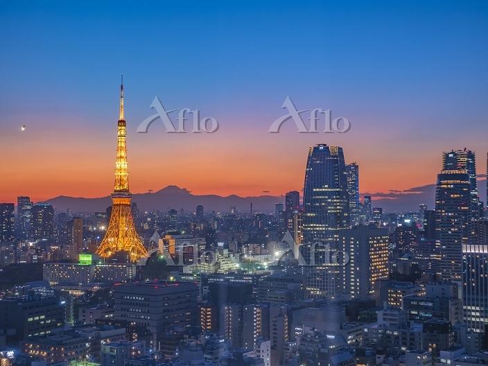 東京都 東京タワーと富士山 マジックアワー