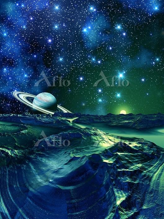 宇宙銀河とリング惑星