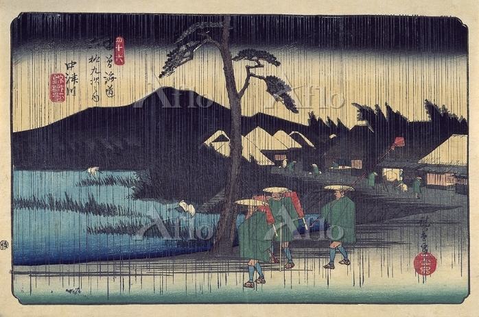 歌川広重 「木曽海道六十九次 中津川 雨」