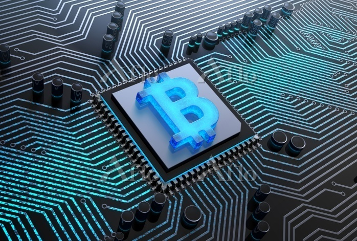 Cpu with a blue glowing bitcoi・・・