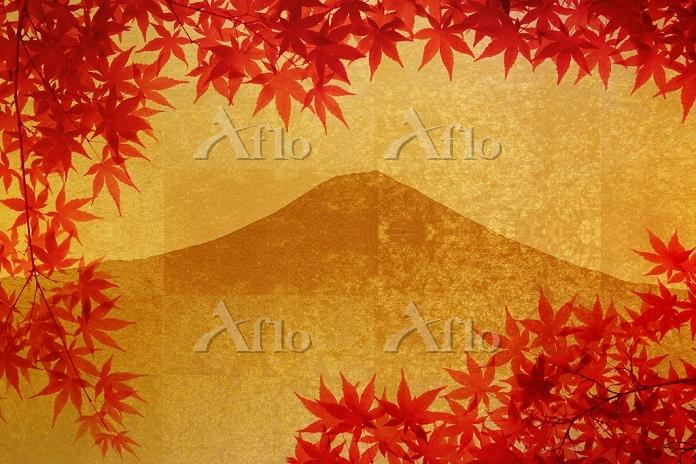 金屏風の富士山と紅葉