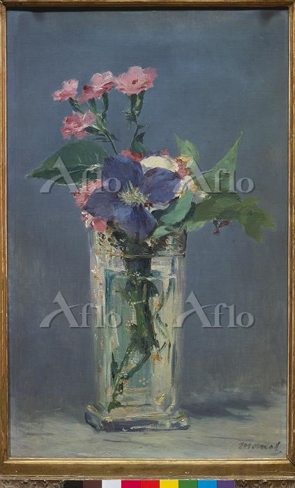 マネ 「ガラス花瓶の中のカーネーションとクレマティス」