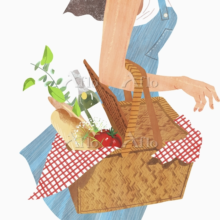 Woman with a picnic basket