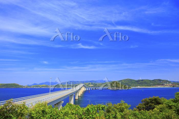 山口県 角島大橋 瀬崎陽の公園から望む角島大橋と海士ヶ瀬 青・・・