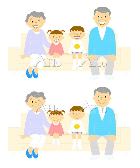 ソファーに座るおじいちゃんおばあちゃんと孫 笑顔と微笑んでい・・・