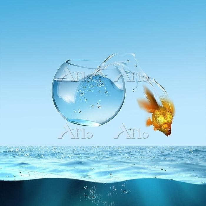 Illustration, fish escaping fr・・・