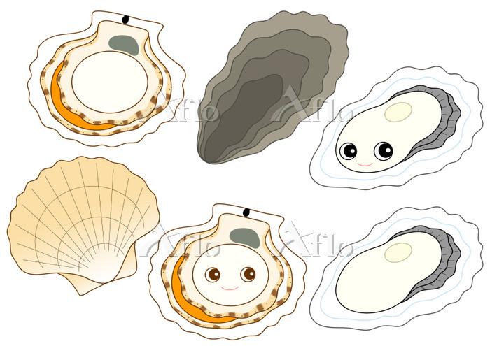 セット ホタテ カキ 帆立貝のキャラクター 牡蠣のキャラクタ・・・