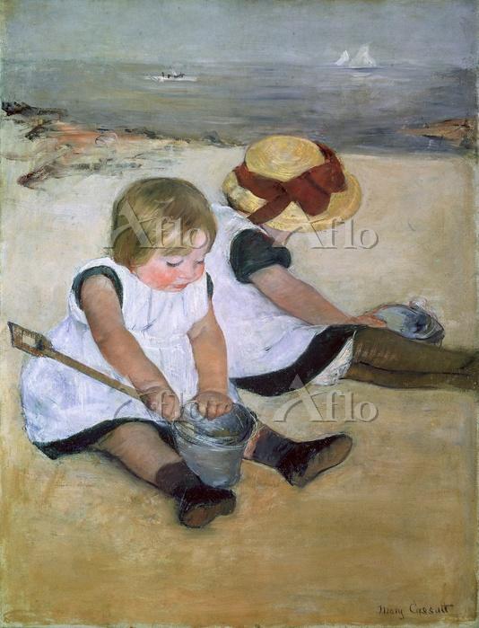 メアリー・カサット 「浜辺で遊ぶ子どもたち」