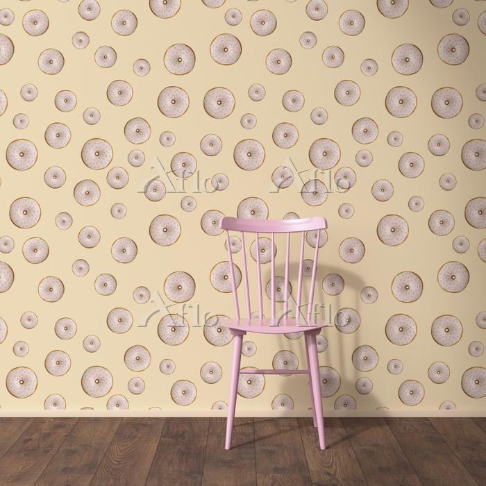 ピンクの椅子と壁