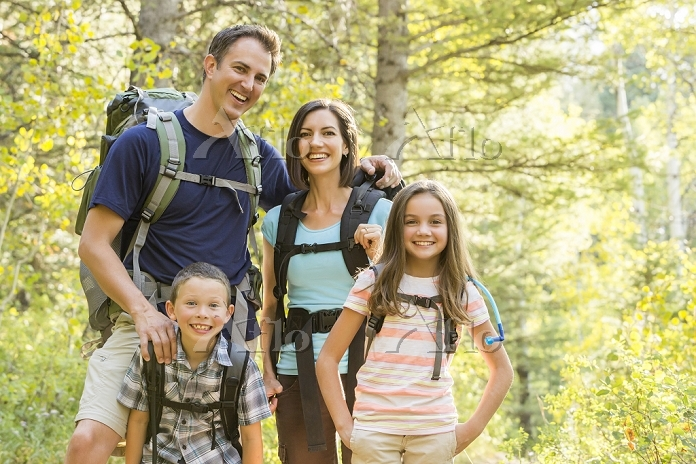 Caucasian family hiking