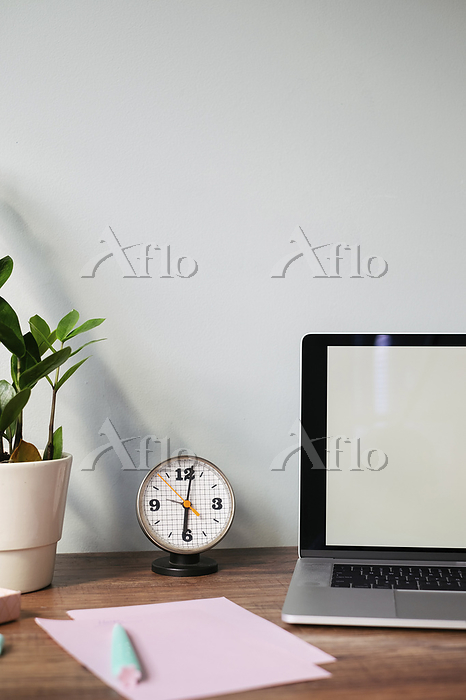 Desk with retro clock at home ・・・