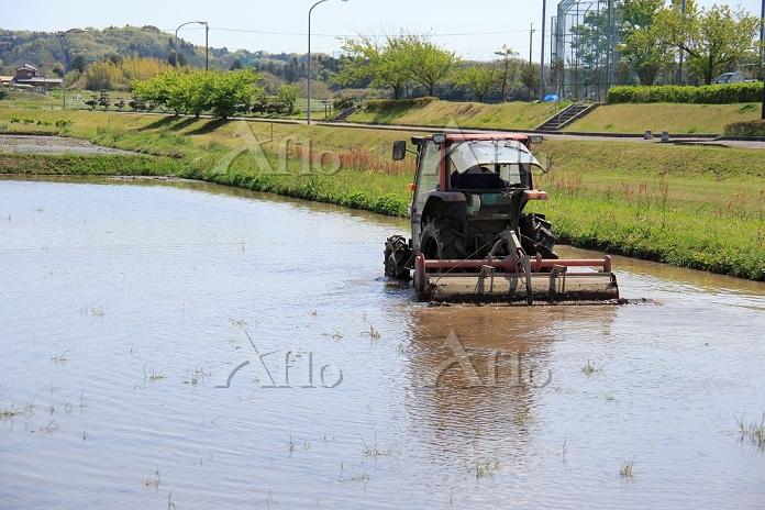 千葉県 田植え前の作業 トラクターで田植えの準備